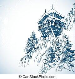 montaña, árbol invierno, pino, choza, bosque, paisaje