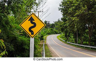 montaña, área, señal, curvy, camino rural