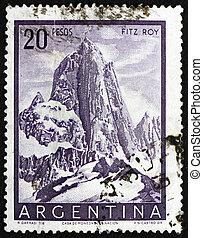 montaña, 1955:, estampilla, -, 1955, fitz, monte., impreso, argentina, hacia, patagonia, exposiciones, roy, argentina