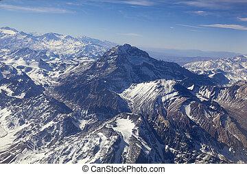 montaña, aéreo, aconcagua, (highest, monte, pico, photo.,...