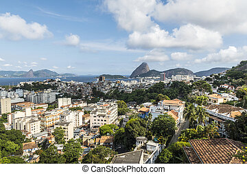 montaña, aéreo, río, sugarloaf, cityscape, vista