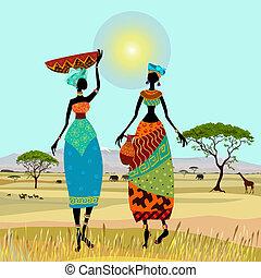 montaña, africano, paisaje, mujeres