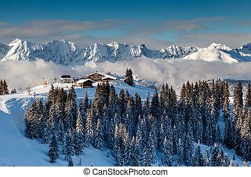montaña, alpes, restaurante, francés, megeve, pico, francia,...