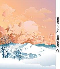 montaña, alpino, escena, amanecer