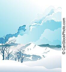 montaña, alpino, escena