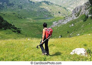 montaña, ambulante, colinas, aventuras, arriba, deporte