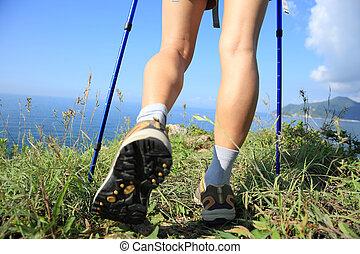 Montaña, ambulante, excursionismo, playa, pico, piernas