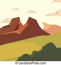 montaña, arbusto, natural, pradera, paisaje
