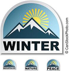 montaña azul, vector, pegatinas, invierno