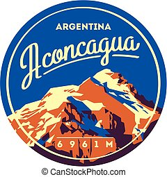montaña, badge., illustration., andes, alto, aventura al aire libre, aconcagua, argentina