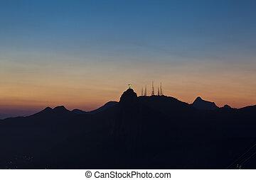 montaña, barra, vistas, azúcar, corcovado, noche, jesús