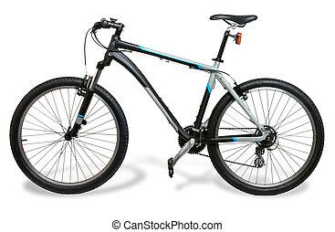 montaña, bicicleta, bicicleta, con, sombra