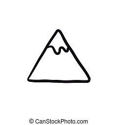 montaña, bosquejo, icon.