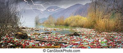 montaña, botellas, depósito