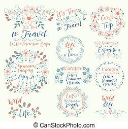 montaña, camping., gozar, it.wild, life.time, a, travel.vacation., recoger, hermoso, moments.camp, trip.outdoor, expedition., ..let, el, aventura, begin., es, un, climb.insignias, logotypes, insignias, pegatinas, sellos, iconos, marcos, tarjeta, diseño, set., garabato, vector, vendimia, elements.