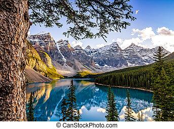 montaña, canad, lago, gama, morain, alberta, paisaje, vista