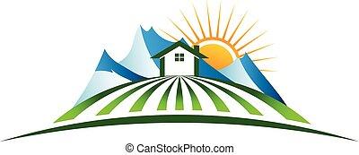 montaña, casa, logotipo