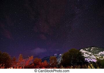 montaña, cielo, sobre, noche