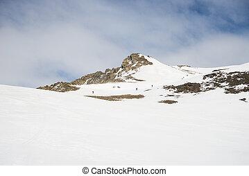 Montaña, cima, hacia, Montañismo