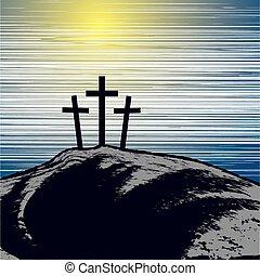montaña, con, tres, cruces