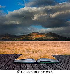 montaña, concepto, trigo, imagen, creativo, campo, gama, ...