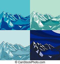 montaña, conjunto, landscapes.