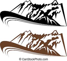 montaña, conjunto, viento