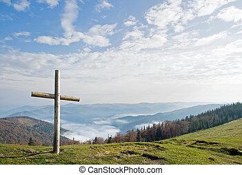 montaña, cruz