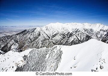 montaña cubierta de nieve, paisaje, colorado.