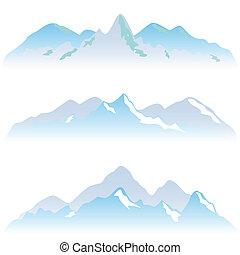 montaña cubierta de nieve, picos