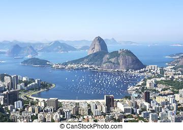 montaña de sugarloaf, en, río de janeiro, brasil