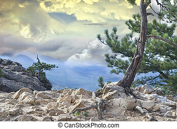 montaña, dramático, vista