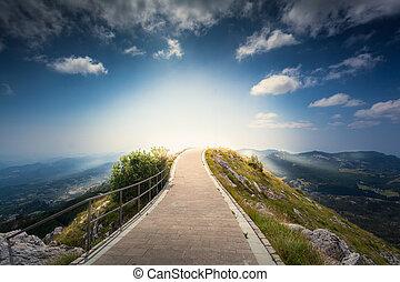 montaña, encima, montenegro, lovcen, cima, salida del sol