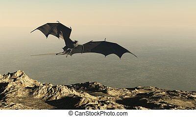 montaña, encima, vuelo, acantilado, dragón