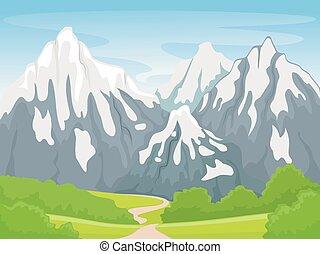 montaña, escena, nevoso