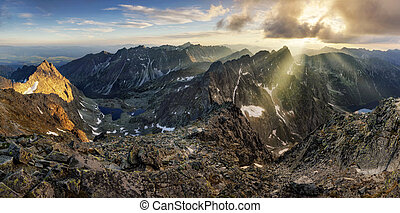 Montaña, Eslovaquia, ocaso, paisaje,  panorama