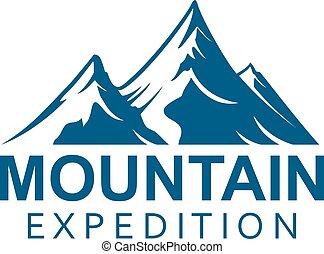 montaña, expedición, alpino, deporte, vector, icono