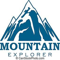montaña, explorador, expedición, deporte, vector, icono