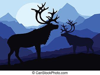 montaña, familia , naturaleza, pareja, venado, ilustración, siluetas, vector, plano de fondo, salvaje, paisaje
