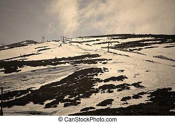 montaña, frío, esquí, escena, nevoso