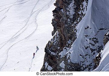 montaña, freeride, pendiente, nieve, profundo, pistas