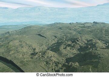 montaña, herboso