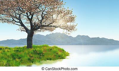 montaña, herboso, flor, cerezo, contra, banco, paisaje, 3d