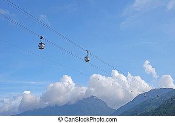 montaña, hong, transporte, cable, ver, coche, herramienta,...