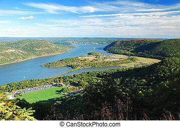 montaña, hudson, otoño, pico, río, vista