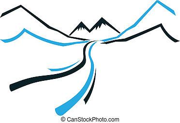 montaña, icono, valle, camino, logotipo