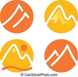 montaña, iconos, conjunto, aislado, blanco, (, naranja, y, amarillo, )