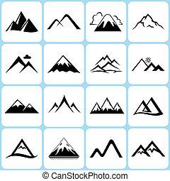 montaña, iconos, conjunto