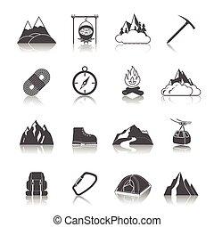 montaña, iconos, negro
