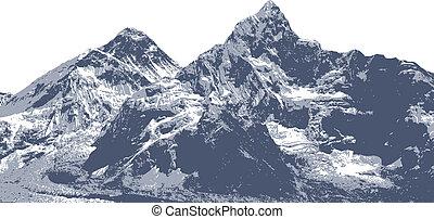 montaña, ilustración, everest